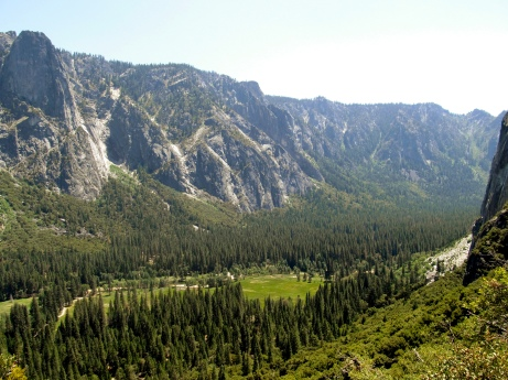 Hiking up the valley wall.