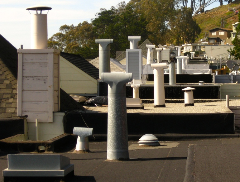 Around my neighborhood, I noticed the rows that the chimneys made and thought that could make for something interesting
