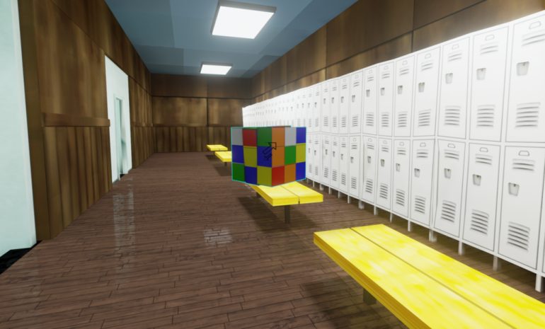 A locker room in the game's world